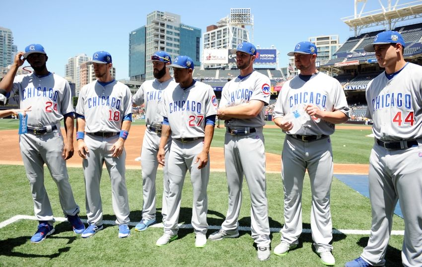 Jul 12, 2016; San Diego, CA, USA; National League players from the Chicago Cubs on left Dexter Fowler , Ben Zobrist , Jake Arrieta , Addison Russell , Kris Bryant , Jon Lester and Anthony Rizzo before the 2016 MLB All Star Game at Petco Park. Mandatory Credit: Gary A. Vasquez-USA TODAY Sports