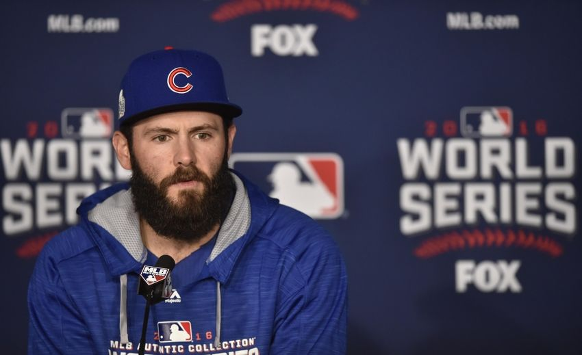 Oct 25, 2016; Cleveland, OH, USA; Chicago Cubs starting pitcher Jake Arrieta speaks to the media before game one of the 2016 World Series against the Cleveland Indians at Progressive Field. Mandatory Credit: David Richard-USA TODAY Sports