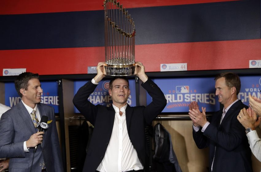 Nov 2, 2016; Cleveland, OH, USA; Chicago Cubs president Theo Epstein holds the commissioner