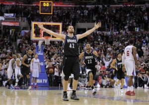 Kevin Love poses after his game-winner (Yahoo!)