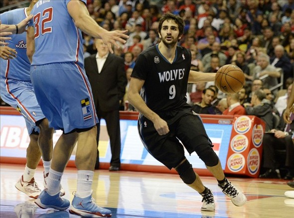 Dec 22, 2013; Los Angeles, CA, USA; Minnesota Timberwolves point guard Ricky Rubio (9) drives to the basket during the game against the Los Angeles Clippers at Staples Center. Mandatory Credit: Richard Mackson-USA TODAY Sports