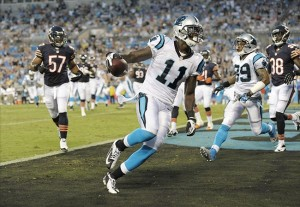 Aug 9, 2013; Charlotte, NC, USA; Carolina Panthers wide receiver Brandon LaFell (11) scores a touchdown while playing against the Chicago Bears at Bank of America Stadium. Mandatory Credit: Sam Sharpe-USA TODAY Sports