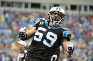 Dec 22, 2013; Charlotte, NC, USA; Carolina Panthers middle linebacker Luke Kuechly (59) reacts in the fourth quarter. The Panthers defeated the Saint 17-13 at Bank of America Stadium. Mandatory Credit: Bob Donnan-USA TODAY Sports
