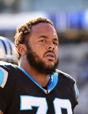 Jan 12, 2014; Charlotte, NC, USA; Carolina Panthers guard Nate Chandler (78) on the field prior to the 2013 NFC divisional playoff football game at Bank of America Stadium. Mandatory Credit: Bob Donnan-USA TODAY Sports