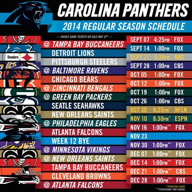 Carolina Panthers 2014 Schedule