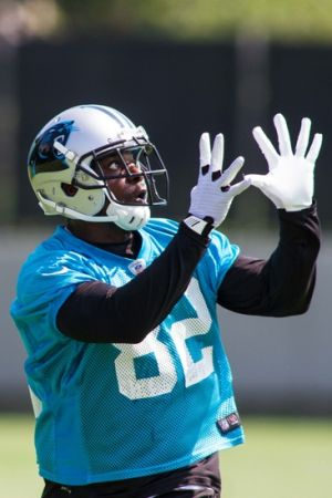 Jun 17, 2014; Charlotte, NC, USA; Carolina Panthers receiver Jerricho Cotchery looks to catch a pass during the minicamp held at the Carolina Panthers practice facility. Mandatory Credit: Jeremy Brevard-USA TODAY Sports