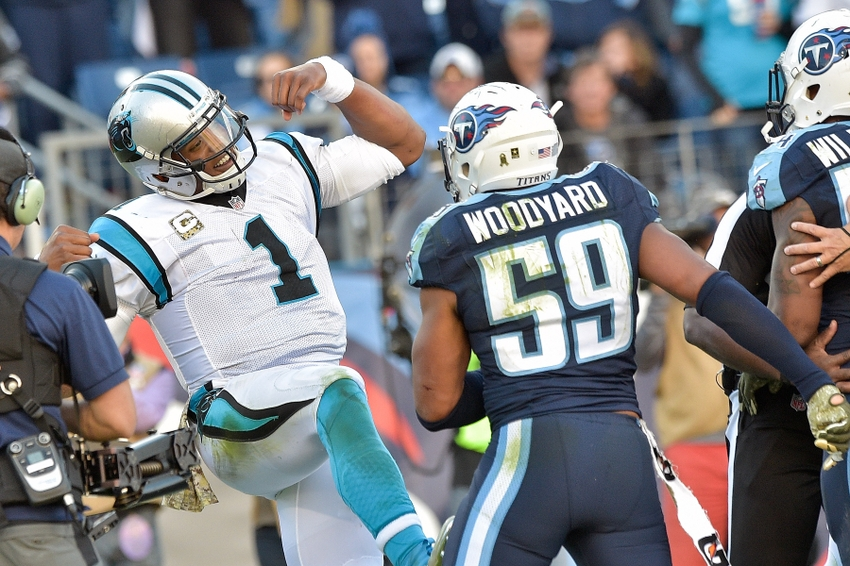 Wesley-woodyard-cam-newton-nfl-carolina-panthers-tennessee-titans
