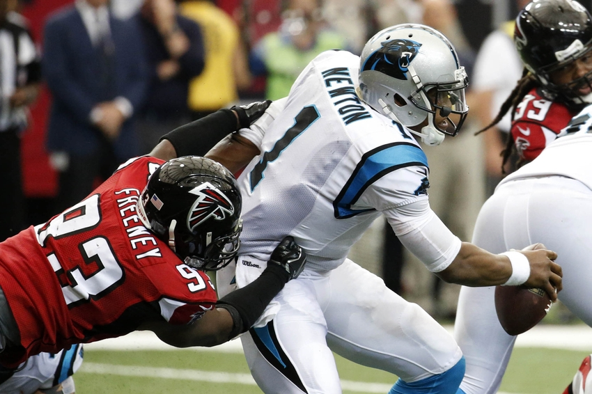 Oct 2, 2016; Atlanta, GA, USA; Atlanta Falcons defensive end Dwight Freeney (93) sacks Carolina Panthers quarterback Cam Newton (1) in the second quarter of their game at the Georgia Dome. Mandatory Credit: Jason Getz-USA TODAY Sports