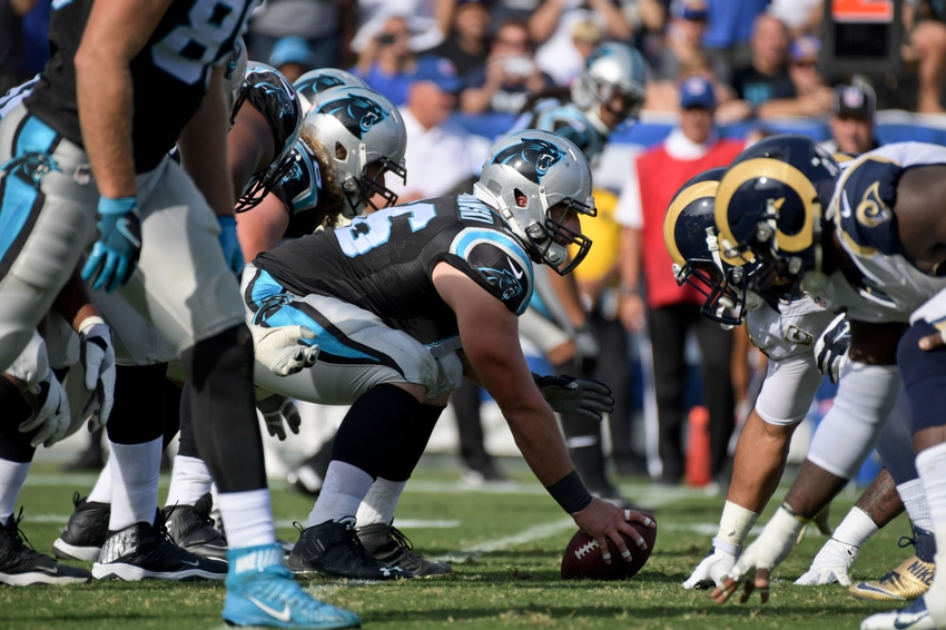 Nov 6, 2016; Los Angeles, CA, USA; Carolina Panthers at the line against the Los Angeles Rams during a NFL football game at Los Angeles Memorial Coliseum. Mandatory Credit: Kirby Lee-USA TODAY Sports