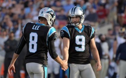 Nov 6, 2016; Los Angeles, CA, USA; Carolina Panthers kicker Graham Gano (9) reacts after kicking a field goal against the Los Angeles Rams with Panthers punter Andy Lee (8) during the second half of a NFL football game at Los Angeles Memorial Coliseum. Mandatory Credit: Kirby Lee-USA TODAY Sports