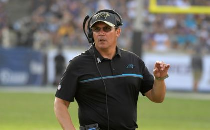 Nov 6, 2016; Los Angeles, CA, USA; Carolina Panthers coach Ron Rivera reacts during a NFL football game against the Los Angeles Rams at Los Angeles Memorial Coliseum. The Panthers defeated the Rams 13-10. Mandatory Credit: Kirby Lee-USA TODAY Sports
