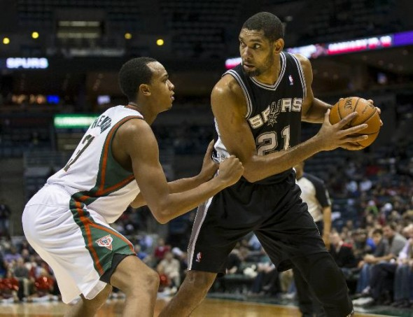 In the last meeting the Spurs (lead by Tim Duncan) beat the Bucks by 28