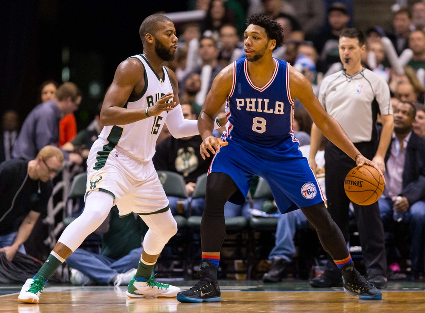 Dec 23, 2015; Milwaukee, WI, USA; Philadelphia 76ers center Jahlil Okafor (8) during the game against the Milwaukee Bucks at BMO Harris Bradley Center. Milwaukee won 113-100. Mandatory Credit: Jeff Hanisch-USA TODAY Sports
