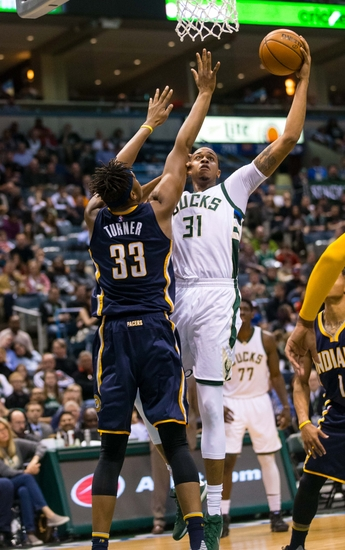 Apr 13, 2016; Milwaukee, WI, USA; Milwaukee Bucks forward John Henson (31) during the game against the Indiana Pacers at BMO Harris Bradley Center. Indiana won 97-92. Mandatory Credit: Jeff Hanisch-USA TODAY Sports