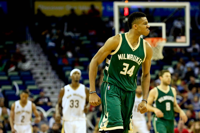 Nov 1, 2016; New Orleans, LA, USA; Milwaukee Bucks forward Giannis Antetokounmpo (34) reacts after a basket against the New Orleans Pelicans during the fourth quarter of a game at the Smoothie King Center. The Bucks defeated the Pelicans 117-113. Mandatory Credit: Derick E. Hingle-USA TODAY Sports