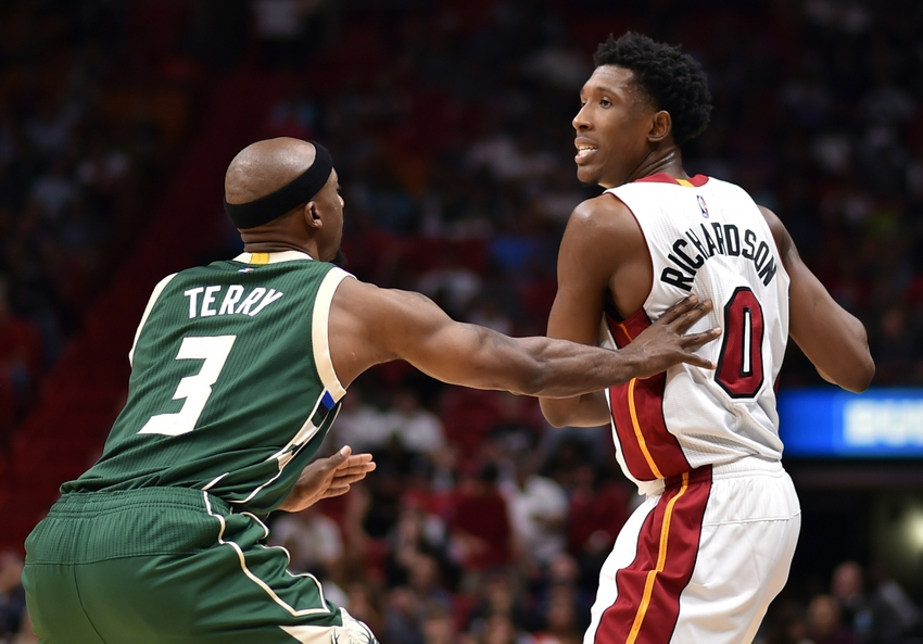 Nov 17, 2016; Miami, FL, USA; Milwaukee Bucks guard Jason Terry (3) applies pressure to Miami Heat guard Josh Richardson (0) during the second half at American Airlines Arena. The Heat won 96-73. Mandatory Credit: Steve Mitchell-USA TODAY Sports