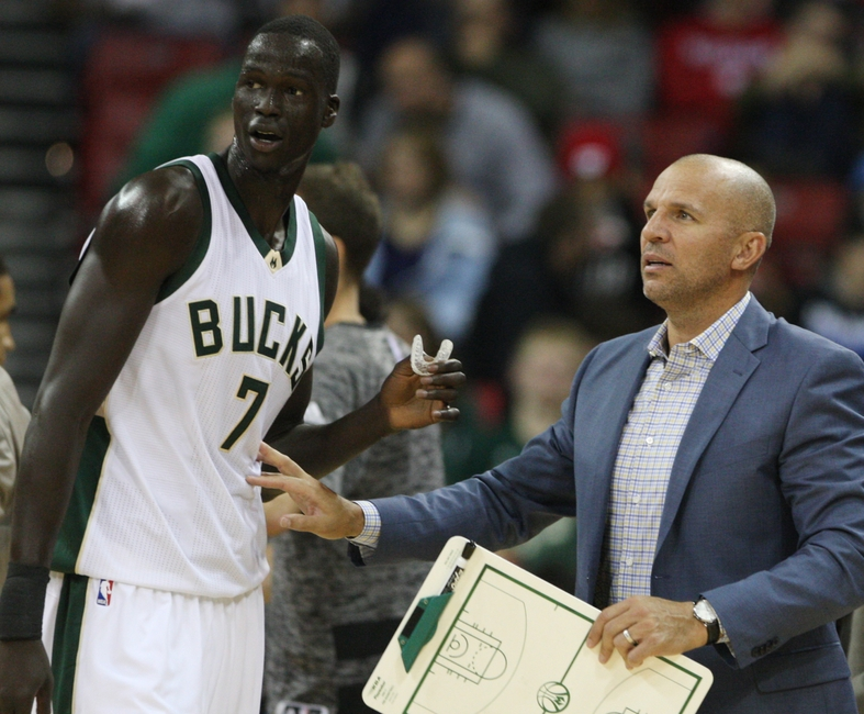 Oct 8, 2016; Madison, WI, USA; Milwaukee Bucks head coach Jason Kidd talks with Milwaukee Bucks forward Thon Maker (7) during the game with the Dallas Mavericks at the Kohl Center. Milwaukee defeated Dallas 88-74. Mandatory Credit: Mary Langenfeld-USA TODAY Sports