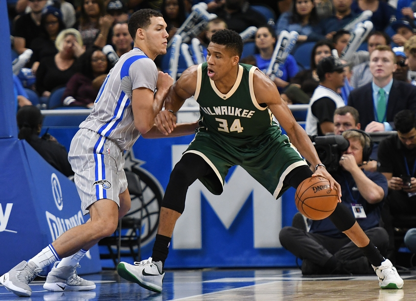 Nov 27, 2016; Orlando, FL, USA; Milwaukee Bucks forward Giannis Antetokounmpo (34) looks to get by Orlando Magic forward Aaron Gordon (00) in the second half at Amway Center. The Milwaukee Bucks defeated the Orlando Magic 104-96. Mandatory Credit: Jonathan Dyer-USA TODAY Sports