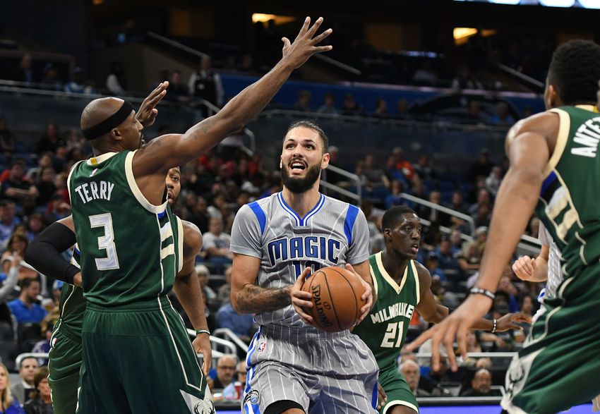 Nov 27, 2016; Orlando, FL, USA; Orlando Magic guard Evan Fournier (10) drives past Milwaukee Bucks guard Jason Terry (3) in the second half at Amway Center. The Milwaukee Bucks defeated the Orlando Magic 104-96. Mandatory Credit: Jonathan Dyer-USA TODAY Sports