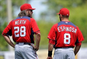 Jayson Werth, a veteran, stands with Danny Espinosa, a second-year player, as both prepare for long, successful careers in Washington.
