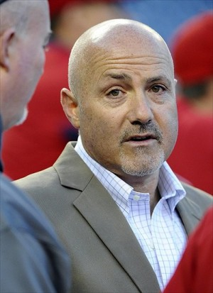 Oct 12, 2012; Washington, DC, USA; Washington Nationals general manager Mike Rizzo on the field before game five of the 2012 NLDS against the St. Louis Cardinals at Nationals Park. Mandatory Credit: Brad Mills-USA TODAY Sports