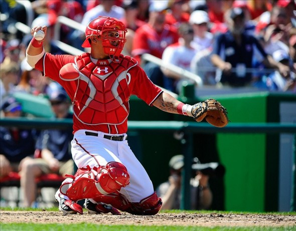 Apr 13, 2013; Washington, DC, USA; Washington Nationals catcher Wilson Ramos (40) throws the ball during the game against the Atlanta Braves at Nationals Park. Mandatory Credit: Brad Mills-USA TODAY Sports