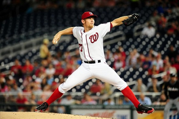Aug 28, 2013; Washington, DC, USA; Washington Nationals pitcher Stephen Strasburg (37) throws a pitch in the second inning against the Miami Marlins at Nationals Park. Mandatory Credit: Evan Habeeb-USA TODAY Sports