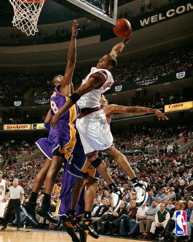 Iguodala goes up for dunk over the Lakers. Photo Courtesy of: http://thestartingfive.files.wordpress.com/2007/11/andre_iguodala.jpeg