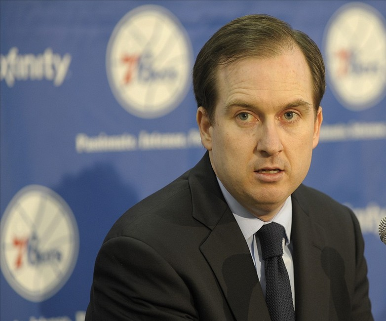 Jun 28, 2013; Philadelphia, PA, USA; Philadelphia 76ers general manager Sam Hinkie during Friday afternoon press conference at Philadelphia College of Osteopathic Medicine. Mandatory Credit: Eric Hartline-USA TODAY Sports