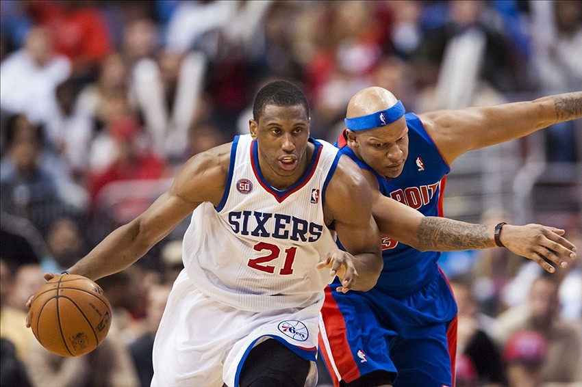 Dec 10, 2012; Philadelphia, PA, USA; Philadelphia 76ers forward Thaddeus Young (21) pushes the ball up court as Detroit Pistons forward Charlie Villanueva (31) defends during the fourth quarter at the Wells Fargo Center. The Sixers defeated the Pistons 104-97. Mandatory Credit: Howard Smith-USA TODAY Sports