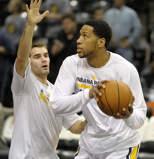 Jan 14, 2014; Indianapolis, IN, USA; Indiana Pacers small forward Danny Granger (33) warms up before the game against the Sacramento Kings at Bankers Life Fieldhouse. Mandatory Credit: Marc Lebryk-USA TODAY Sports