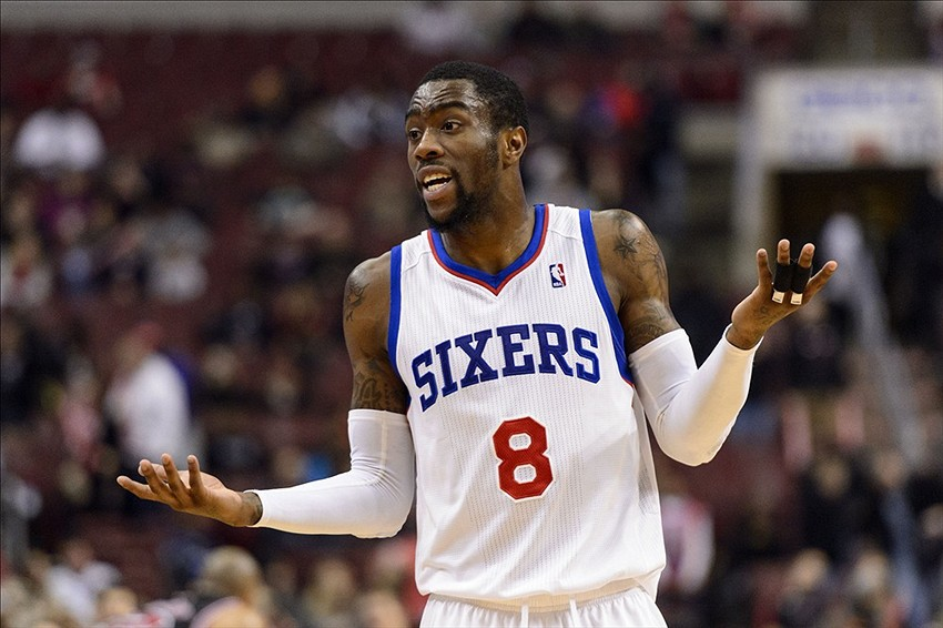 Mar 19, 2014; Philadelphia, PA, USA; Philadelphia 76ers guard Tony Wroten (8) during the fourth quarter against the Chicago Bulls at the Wells Fargo Center. The Bulls defeated the Sixers 102-94. Mandatory Credit: Howard Smith-USA TODAY Sports