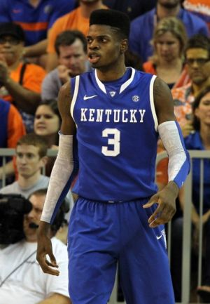 February 12, 2013; Gainesville, FL, USA; Kentucky Wildcats forward Nerlens Noel (3) against the Florida Gators during the first half at the Stephen C. O