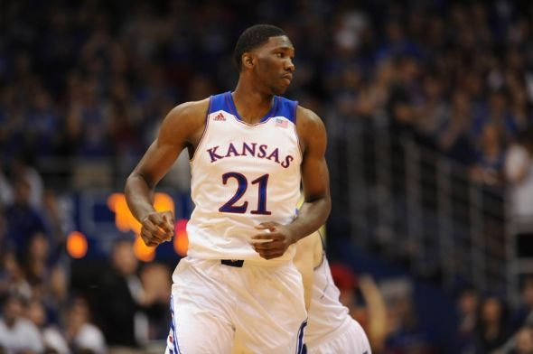 Nov 8, 2013; Lawrence, KS, USA; Kansas Jayhawks center Joel Embiid (21) walks to the near end of the court during the second half of the game against the Louisiana Monroe Warhawks at Allen Fieldhouse. Kansas won 80 - 63. Mandatory Credit: Denny Medley-USA TODAY Sports