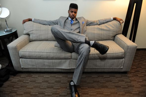 Jun 27, 2013; New York, NY, USA; Nerlens Noel poses for a photo at the Westin Hotel prior to the NBA Draft. Mandatory Credit: Joe Camporeale-USA TODAY Sports