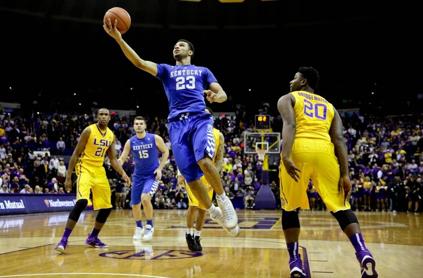 Jan 5, 2016; Baton Rouge, LA, USA; Kentucky Wildcats guard Jamal Murray (23) shoots over LSU Tigers forward Brian Bridgewater (20) during the second half of a game at the <a rel=