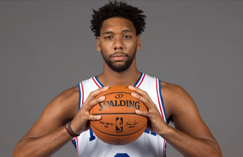 Sep 26, 2016; Philadelphia, PA, USA; Philadelphia 76ers center Jahlil Okafor (8) during media day at the Philadelphia 76ers Training Complex. Mandatory Credit: Bill Streicher-USA TODAY Sports