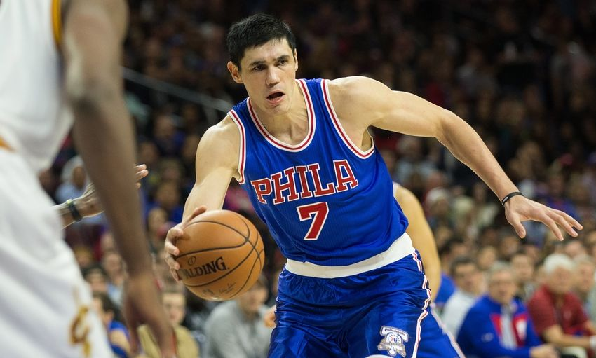 Nov 5, 2016; Philadelphia, PA, USA; Philadelphia 76ers forward Ersan Ilyasova (7) controls the ball against the Cleveland Cavaliers during the second half at Wells Fargo Center. The Cleveland Cavaliers won 102-101. Mandatory Credit: Bill Streicher-USA TODAY Sports