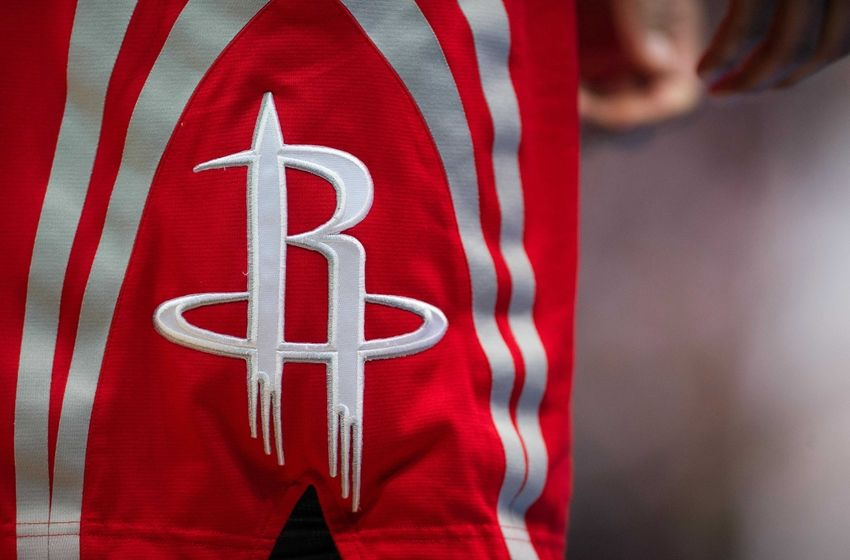 Apr 2, 2015; Dallas, TX, USA; A view of the Houston Rockets logo during the game against the Dallas Mavericks at the American Airlines Center. The Rockets defeated the Mavericks 108-101. Mandatory Credit: Jerome Miron-USA TODAY Sports