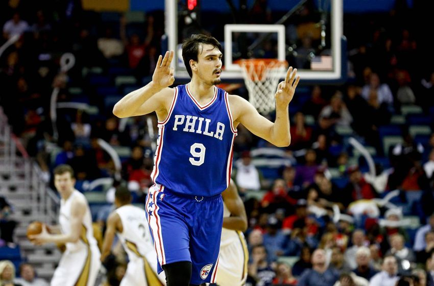 Dec 8, 2016; New Orleans, LA, USA; Philadelphia 76ers forward Dario Saric (9) celebrates after a three point basket against the New Orleans Pelicans during the second half of a game at the Smoothie King Center. The 76ers defeated the Pelicans 99-88. Mandatory Credit: Derick E. Hingle-USA TODAY Sports