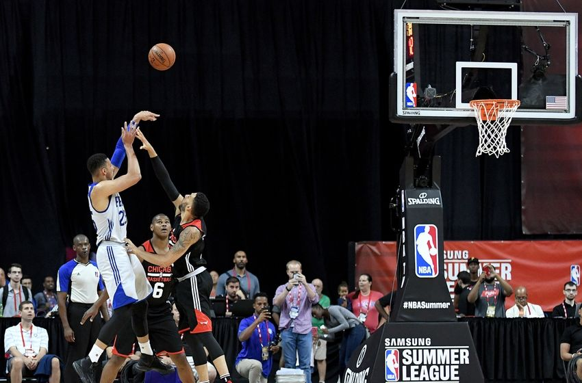 Jul 10, 2016; Las Vegas, NV, USA; Philadelphia 76ers forward Ben Simmons (25) takes a three point shot during an NBA Summer League game against the Chicago Bulls at Thomas & Mack Center. Chicago won the game 83-70. Mandatory Credit: Stephen R. Sylvanie-USA TODAY Sports