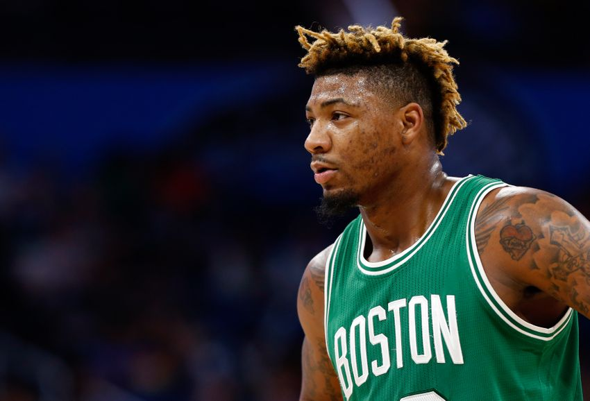 Dec 7, 2016; Orlando, FL, USA; Boston Celtics guard Marcus Smart (36) against the Orlando Magic during the first quarter at Amway Center. Mandatory Credit: Kim Klement-USA TODAY Sports
