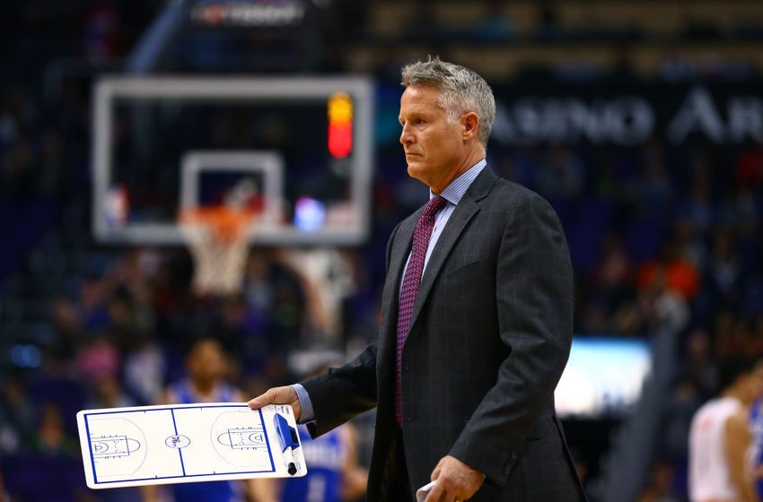 Dec 23, 2016; Phoenix, AZ, USA; Philadelphia 76ers head coach Brett Brown against the Phoenix Suns at Talking Stick Resort Arena. The Suns defeated the 76ers 123-116. Mandatory Credit: Mark J. Rebilas-USA TODAY Sports