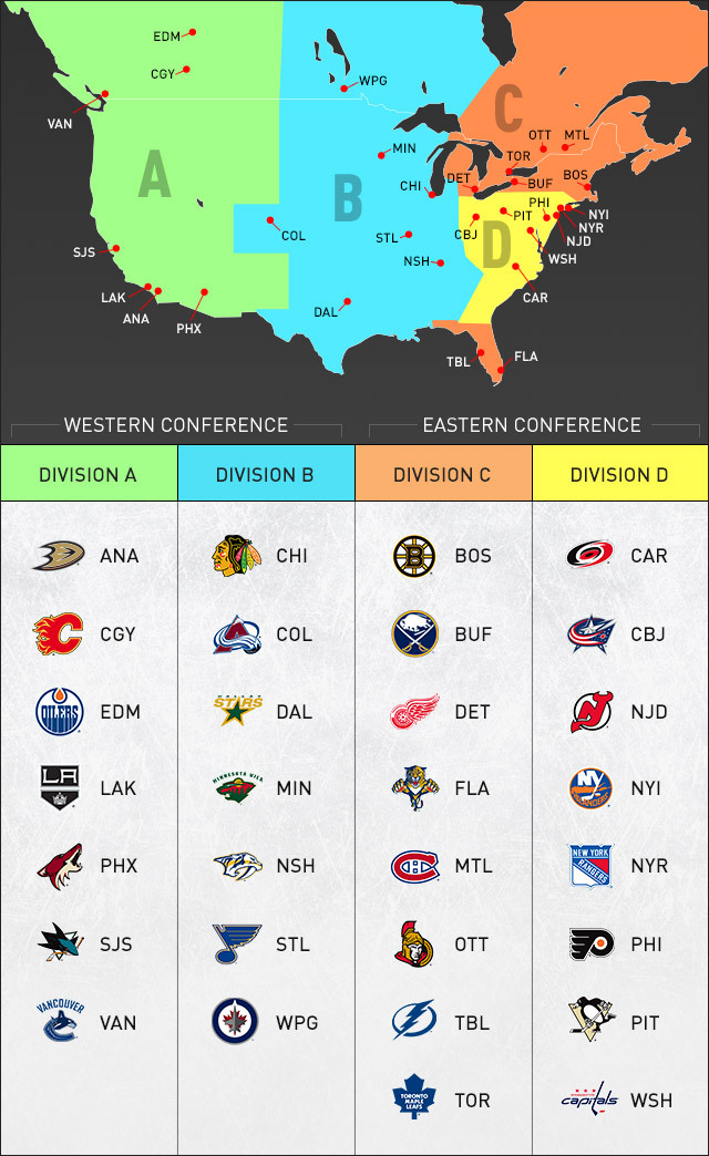 NHL Realignment Map (Picture courtesy of NHL.com)