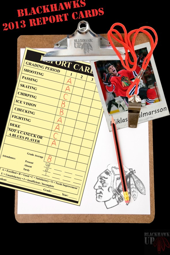 Report card Niklas Hjalmarsson (Photoshop by Joe Kremel)