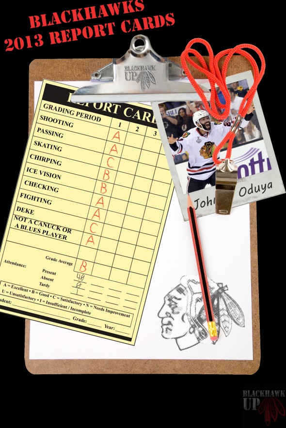 Report Card Johnny Oduya (Photoshop by Joe Kremel)