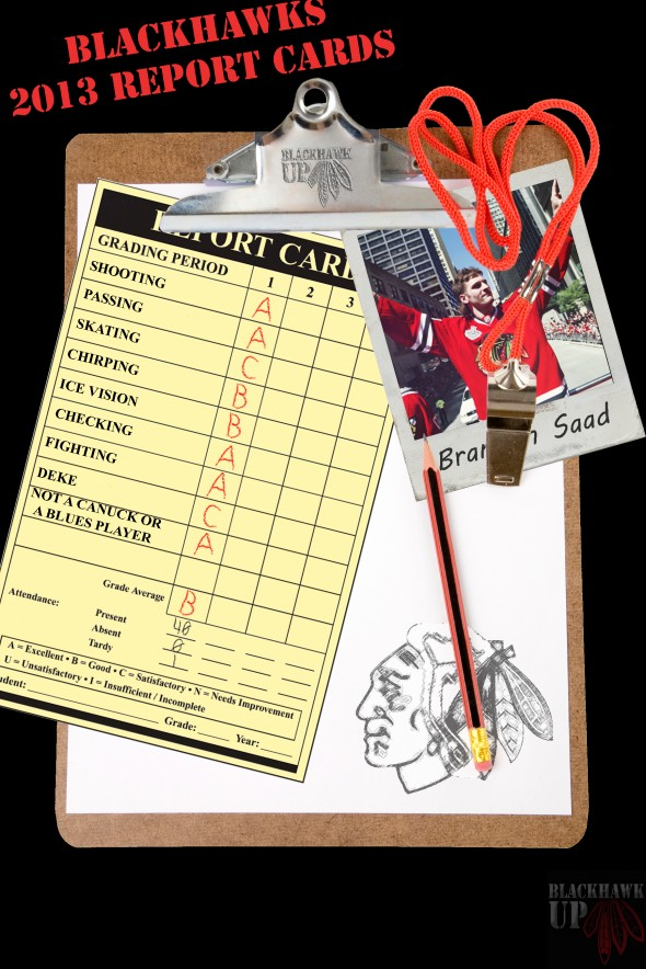 Report Card Brandon Saad (Photo Shop Image by Joe Kremel)