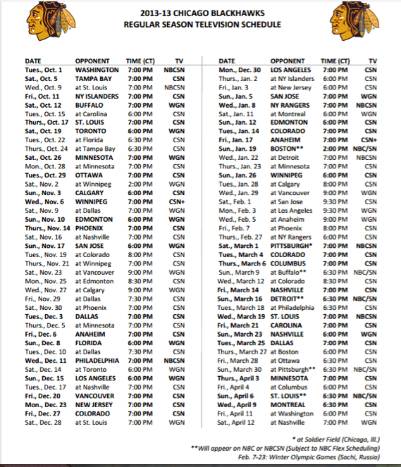Chicago Blackhawks TV Schedule (Schedule courtesy of ChicagoBlackhawks.com)