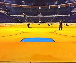 Bridgestone Arena with golden ice (picture courtesy of siextramustard.com)