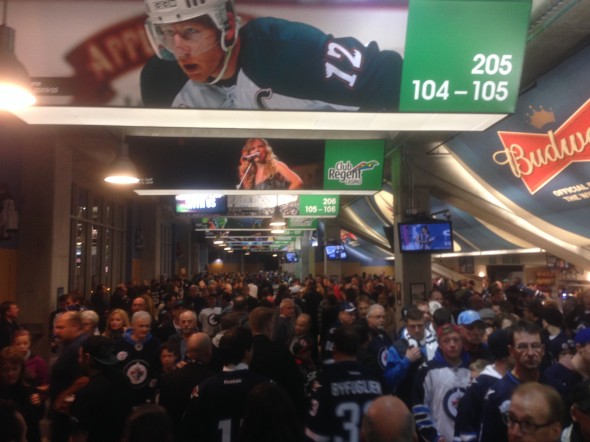 Jets' fans milling around before the game.